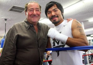 """May 7, 2012, Hollywood, Ca.  ---  """"OPENING DAY"""" ---  Superstar Manny Pacquiao greets Hall of Fame Top Rank promoter Bob Arum(L) during his US opening training camp at the Wildcard Boxing Club Monday in preparation for his upcoming World Welterweight title mega-fight against undefeated Jr. Welterweight champion Timothy """"The Desert Storm"""" Bradley Jr..  Promoted by Top Rank, in association with MP Promotions, Tecate, AT&T and MGM Grand, Pacquiao vs Bradley will take place, Saturday, June 9 at the MGM Grand in Las Vegas, live on HBO Pay Per View.  --- Photo Credit : Chris Farina - Top Rank  (no other credit allowed)  copyright 2012"""