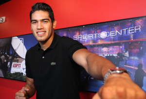 "June 15, 2015, Los Angeles,Ca.    ---  Undefeated Mexican knockout artist and No. 2-world-rated super middleweight contender  Gilberto ""Zurdo"" Ramirez makes a special guest appearance, Monday on the ""ESPN Deportes - A Los Golpes"" show with hosts: legendary champion Julio Cesar Chavez Sr. , Bernardo Osuna and David Faitelson at the ESPN studios in downtown Los Angeles. Ramirez will headline an all-action card,  Friday, June 26, at State Farm Arena in Hidalgo, TX. where he will be taking on DERECK ""The Black Lion"" EDWARDS in a 10- round super middleweight bout which will be televised live on The MetroPCS Friday Night Knockout on truTV® at 10:00 p.m. ET.  Promoted by Top Rank and Zapari Boxing Promotions, in association with Nord Boxing Promotions and Zanfer Promotions,  This live boxing series is presented by truTV and Top Rank®, and produced in association with HBO Sports®.  ---   Photo Credit : Chris Farina - Top Rank (no other credit allowed)  copyright 2015"