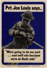 World War II poster featuring Joe Louis. University of North Texas, UNT Digital Library, World War Poster Collection.